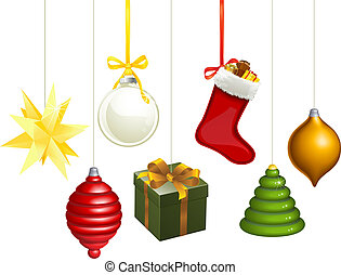 decoraties, kerstmis, illustratie