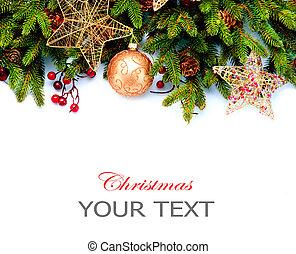 decoration., vrijstaand, achtergrond., ontwerp, decoraties, witte , vakantie, grens, kerstmis