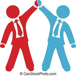 delen, zakenlui, overeenkomst, succes, vieren