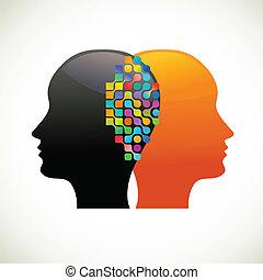 denken, mensen, communiceren, praatje