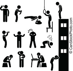 deprimeren, zelfmoord, mensen, verdrietige , doden, man