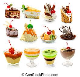dessert, delicous, witte , vrijstaand, verzameling