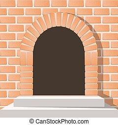 deur, gewelfd, muur, stairs van de baksteen, middeleeuws