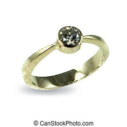 diamond., vector, ring, goud, trouwfeest