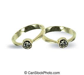 diamond., vector, ringen, goud, trouwfeest