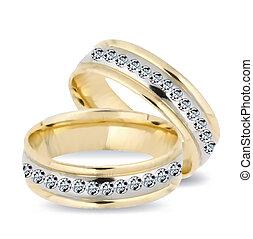 diamonds., vector, ringen, goud, trouwfeest