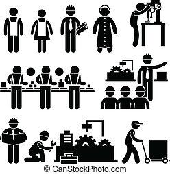 directeur, arbeider, fabriek, werkende