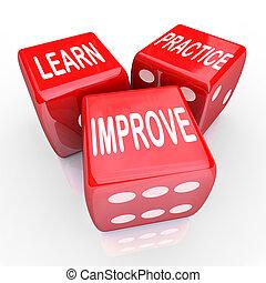dobbelsteen, praktijk, 3, woorden, leren, rood, verbeteren