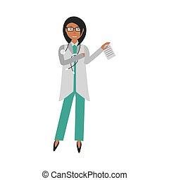 document, stethoscope, vasthouden, vrouwtje arts