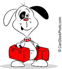 dog, spotprent, koffer