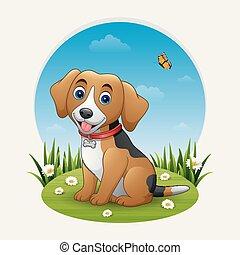 dog, spotprent, zittende