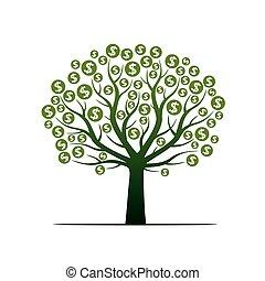 dollar., vector, boompje, illustration., meldingsbord