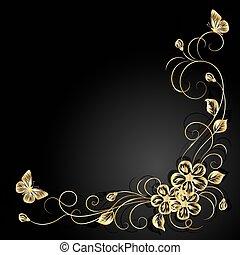 donker, achtergrond., schaduw, bloemen, goud