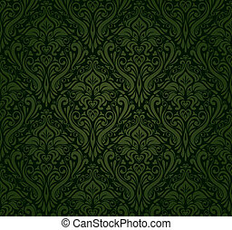donker, ouderwetse , behang, groene
