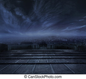 donker, stedelijke , op, wolken, achtergrond
