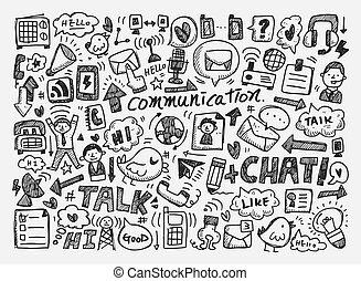 doodle, achtergrond, communicatie