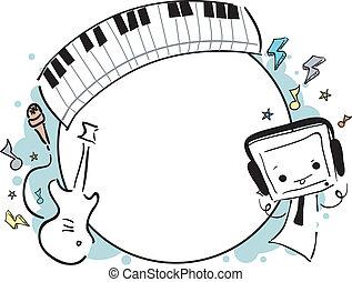 doodle, frame, muziek