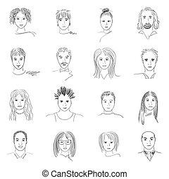 doodle, gezichten