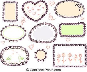 doodle, schattig, floral, set, vector, frame