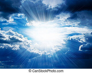door, breuken, stralen, wolken, zonneschijn