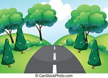 doorreis, heuvels, straat