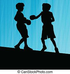 doosje, abstract, boxing, jonge, silhouettes, vector, achtergrond, actief, sportende, kinderen