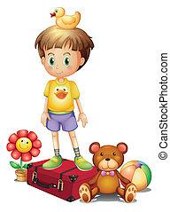 doosje, jongen, anders, zijn, boven, speelgoed, rood