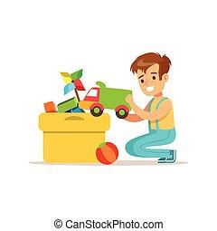 doosje, jongen, zijn, huishouding, woning, karakter, portie, schoonmaakbeurt, het putten, speelgoed, het glimlachen, spotprent, bijzondere , geitje