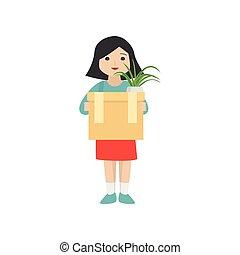 doosje, vrouw, persoonlijk, items, pot, informatietechnologie, bloem, vasthouden, karton