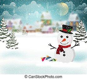 dorp, sneeuwpop, winter