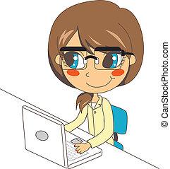 draagbare computer, werkende , secretaresse