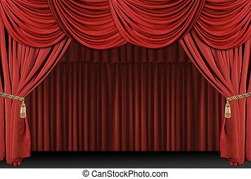 draperen, theater, achtergrond, toneel