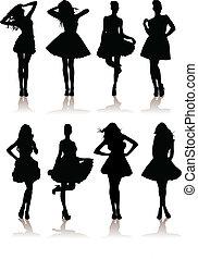 dress., gevarieerd, model, illustratie, set, meiden, vector, dame, mooi