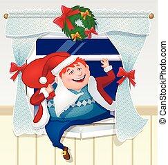 dronken, beklimmingen, kerstman, gifts., papa, geklede, venster, uit