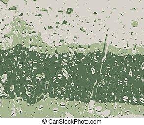 druppels, achtergrond, groene samenvatting