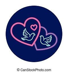 duiven, hart, neon ontsteken, dag, valentijn