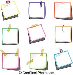 duw, opmerkingen, papier, paperclip, spelden