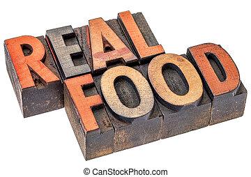 echte, voedingsmiddelen, abstract, woord, typografie