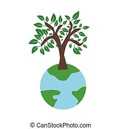 ecologie, aarde, concept, boompje