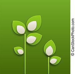 ecologie, abstract, papier, groene achtergrond, planten