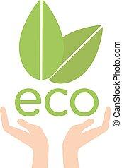 ecologie, natuur, eco, bladeren, portie, concept, vector., hand