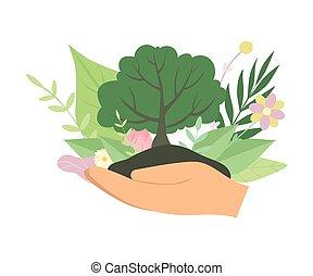 ecologie, vasthouden, boompje, bescherming, illustratie, milieu, vector, groene, menselijke handen