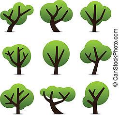eenvoudig, boompje, iconen
