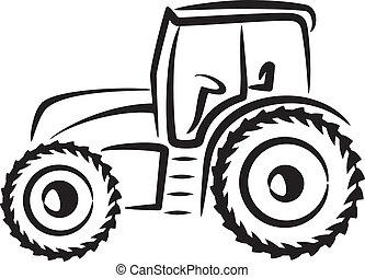 eenvoudig, illustratie, tractor