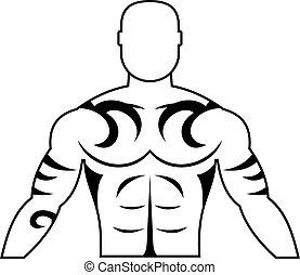 eenvoudig, tatoeëren, pictogram, gespierd, man