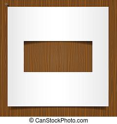 eenvoudig, van hout vensterraam, papier, achtergrond