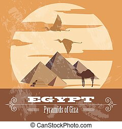 egypte, landmarks., gestyleerd, retro