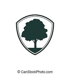eik, groene, bevestigen, bescherming, schild