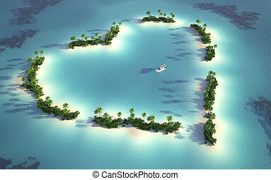 eiland, aanzicht, luchtopnames, hartvormig