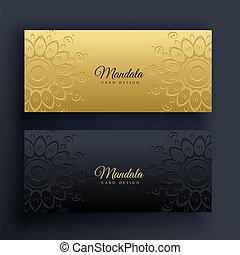 elegant, banieren, mandala, black , goud